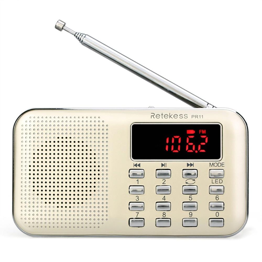 RETEKESS PR11 Radio Receiver Portable FM AM 2 Band Digital Mini Radio Pocket With USB MP3 Player Support TF Card USB Disk F9210J old version degen de1103 1 0 ssb pll fm stereo sw mw lw dual conversion digital world band radio receiver de 1103 free shipping