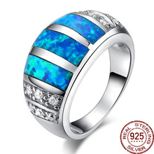 Aceworks Blue Opals Gem Material 100% Real 925 Sterling Silver Rings Nature Stone Noble Design Jewelry Refinement Gift RN2407