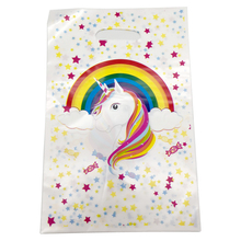 Unicorn Theme Plastic Girls Favors Gifts Bags Baby Shower Party Loot Bags Decorate Happy Birthday Party Supplies 10pcs/pack
