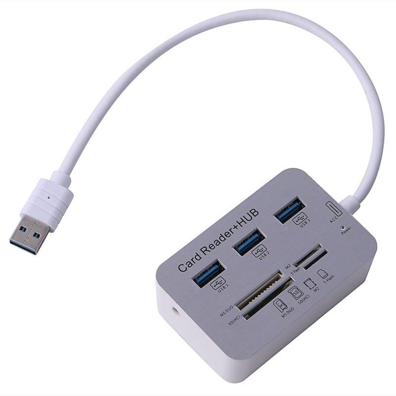 Accessoires informatiques Nouveau Portable Lecteur de Carte 3 Port En Aluminium USB 3.0 Hub Avec MS SD M2 TF Multi-en-1