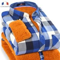 2015 Hot Sale Men Winter Warm Shirt Long Sleeve Leisure Shirts Plus Velvet Turn Down Collar