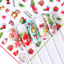 1pcs Winter 3D Nail Art Stickers Adhesive Christmas Cartoon Snowman Santa Flowers Sliders Decal Manicure Decoration TRCA329-337(China)