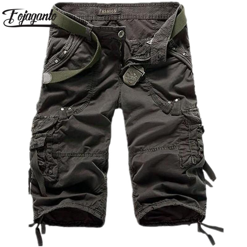 FOJAGANTO New Men Cargo Short Pants Male Shorts Multi Pocket Fashion Solid Color Street Men's Shorts (No Belt)