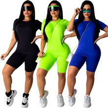 Two Piece Set Crop Tops and Shorts Women Fashion Neon Green Solid Party Streetwear Fitness Casual Sporting tracksuit outfit