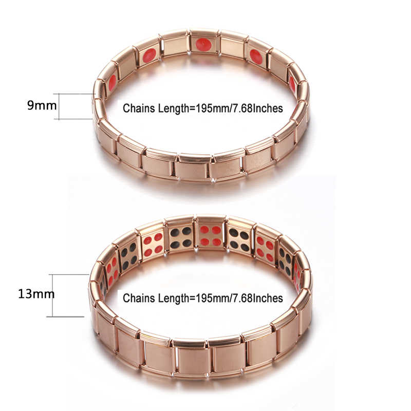Nowe damskie opaski ze stali nierdzewnej elastyczna regulacja czarna róża złoty kolor bransoletka magnetyczna germanu dla mężczyzn biżuteria zdrowotna