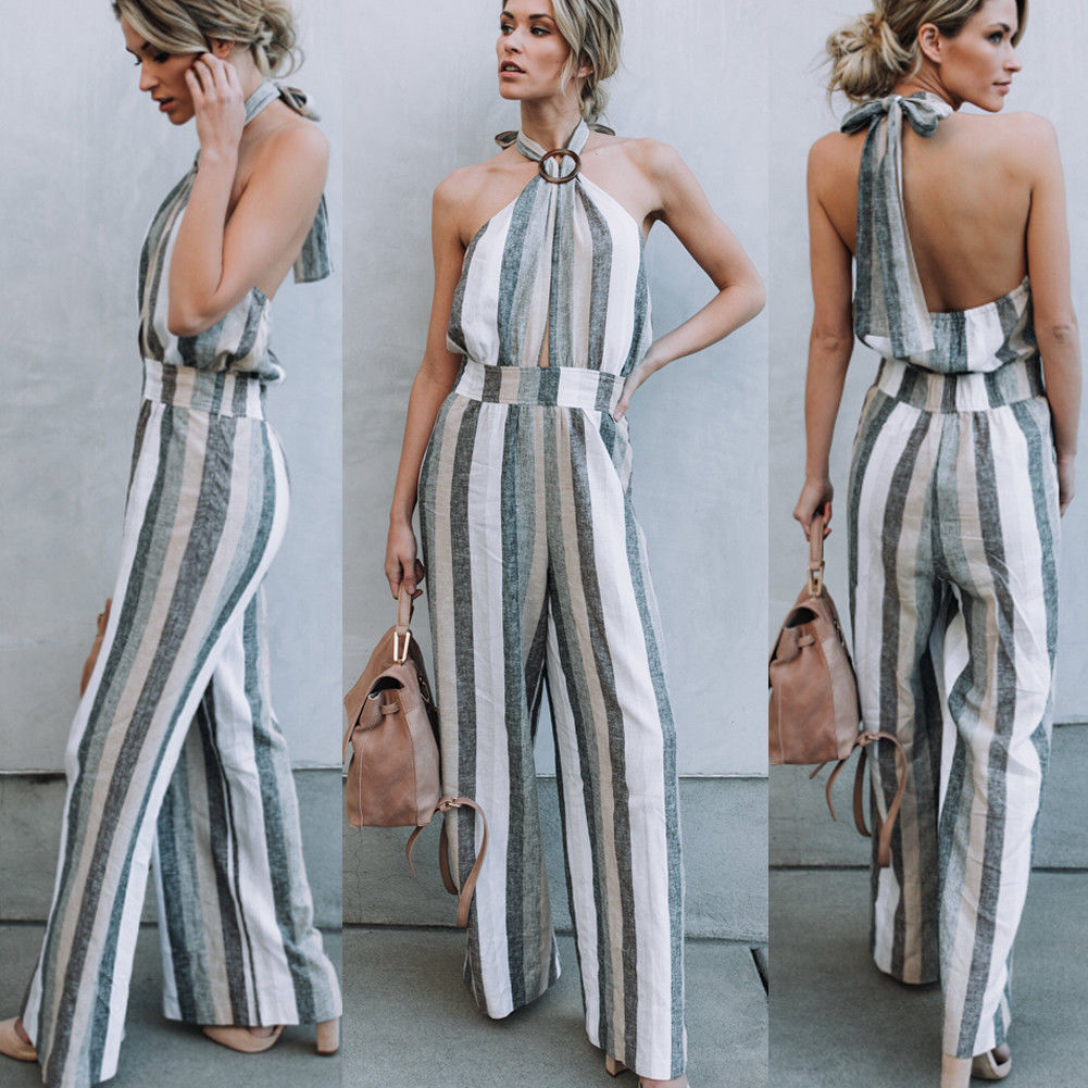 Sexy Women Summer Jumpsuit Strap V Neck Backless Wide Leg Pants Halter Jumpsuit Ladies Striped Romper Clubwear