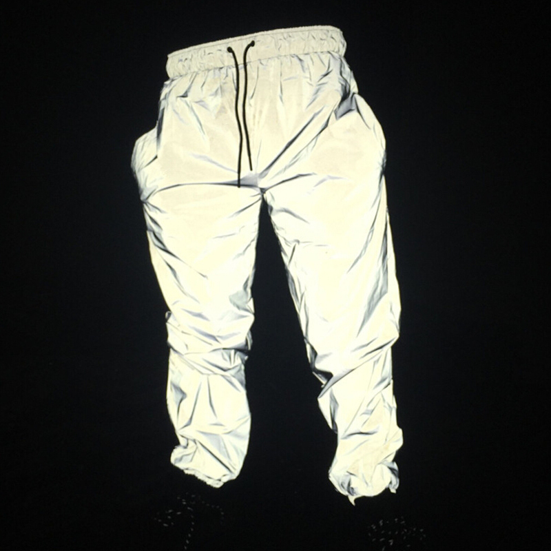 Dropshipper hip hop reflective pants men joggers sweatpants mens streetwear night light shiny blink long pants for couples(China)
