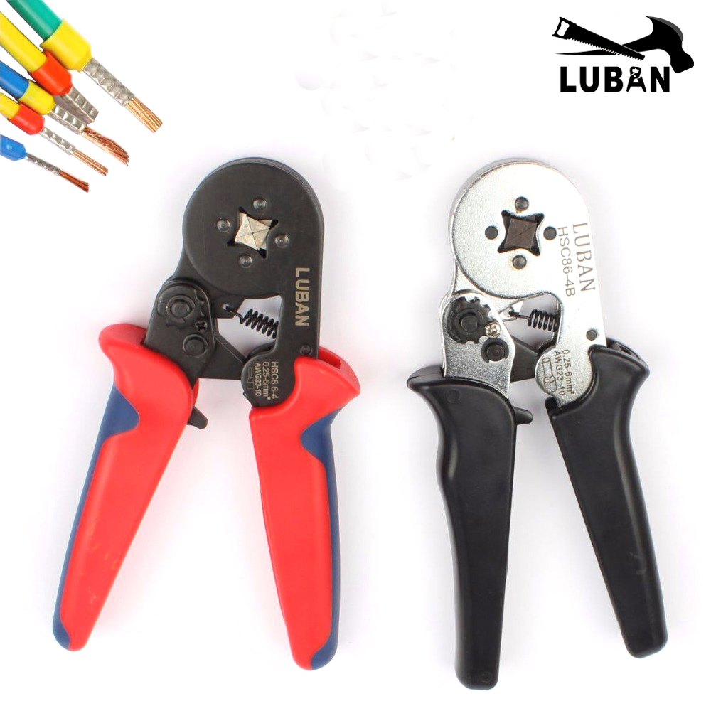 HSC8 6-4A MINI-TYPE SELF-ADJUSTABLE CRIMPING PLIER 0.25-6mm2 terminals crimping tools multi tool hands pliers LUBAN hsc8 6-4 luban hsc8 16 4 mini type self adjustable crimping plier 4 16mm2 terminals crimping tools multi tool tools hands pliers pliers