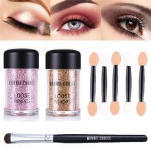 BONNIE CHOICE Metallic Glitter Eyeshadow Loose Powder Makeup Brush Shimmer Colorful Pigment Face Highlighter Cosmetic Make Up