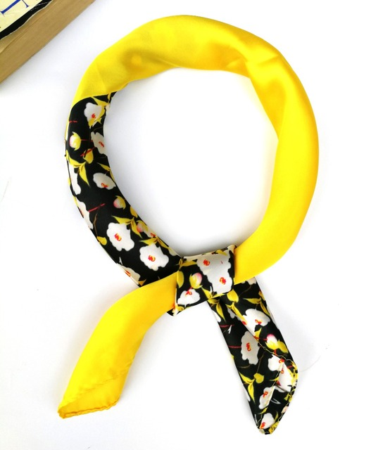 02d432079fe Satin Silk Scarf Yellow Floral Bandana Small Square Scarves Bag Hat Summer Neck  Head Scarf Headband Hairband 55 55cm