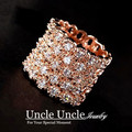 Super Luxury!!! Rose Gold Plated Austrian Crystals Fully Inlaid Hollow-out Wide Lady Finger Ring Wholesale