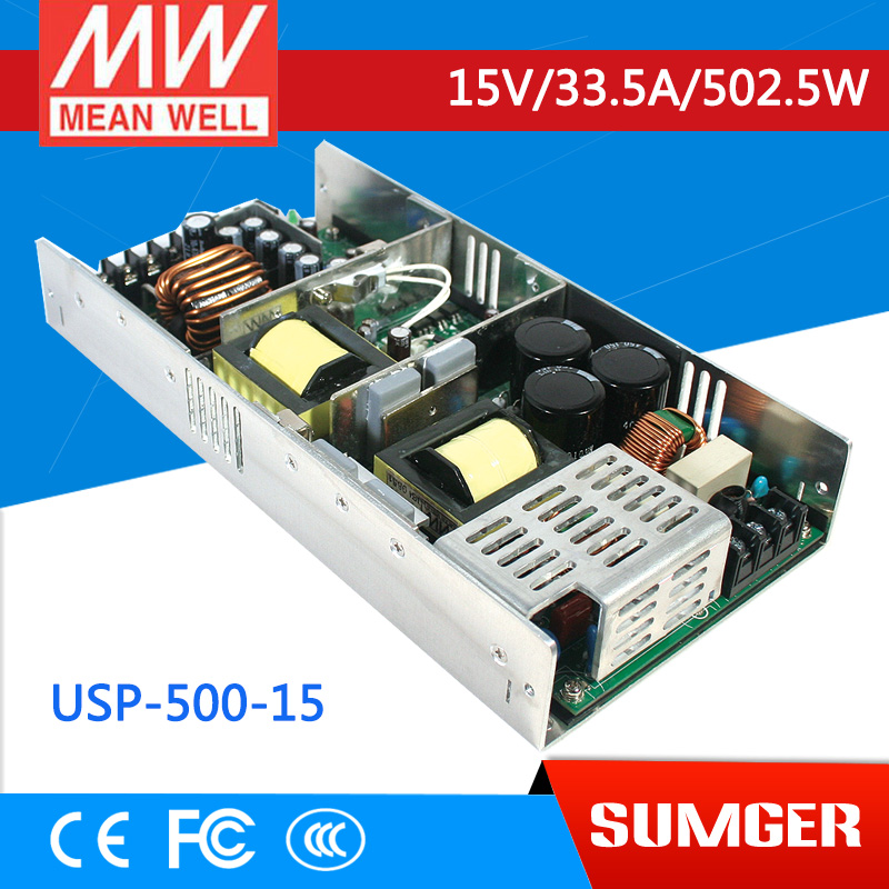 1MEAN WELL original USP-500-15 15V 33.5A meanwell USP-500 15V 405W Single Output with PFC Function Power Supply [mean well1] original epp 150 15 15v 6 7a meanwell epp 150 15v 100 5w single output with pfc function