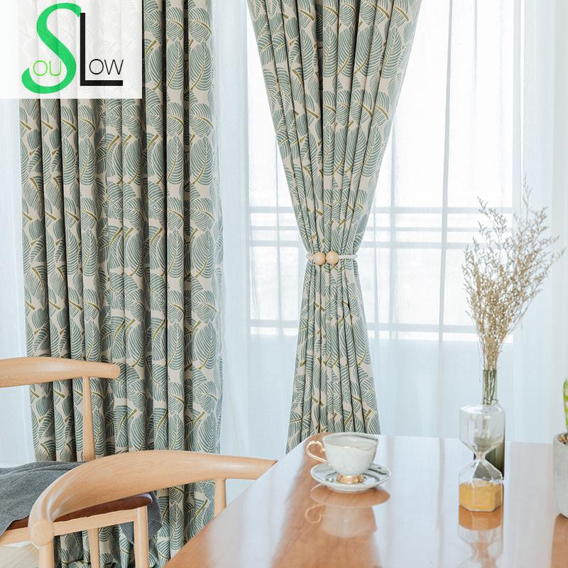 Slow Soul Chinese Curtain Fabric Green Leaf Spot Modern French Window Curtains Tulle For Living Room Bedroom Short Sheer window valance
