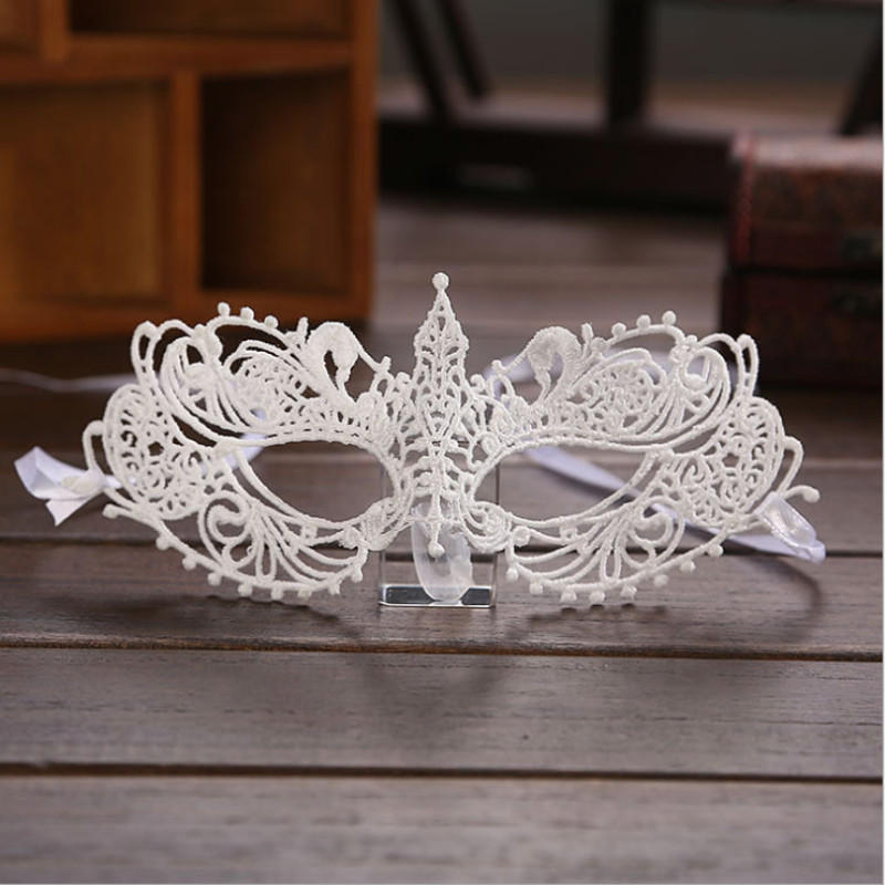 1PCS Hot Sales White <font><b>Sexy</b></font> Lady Lace <font><b>Mask</b></font> <font><b>Eye</b></font> <font><b>Mask</b></font> For Masquerade Party Fancy Dress Costume / Halloween Party Fancy image