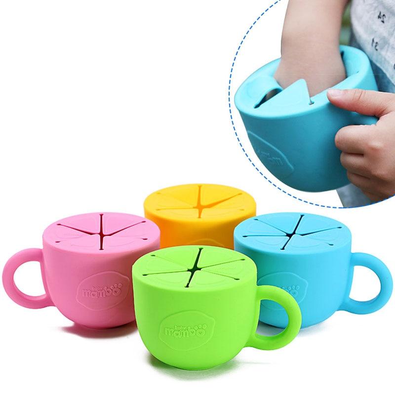 Weiche silikon lebensmittel tasse 450 ml utensilien für kinder snack verschüttet tasse auslaufsicher silikon baby snack-box Tasse weihnachten geschenk