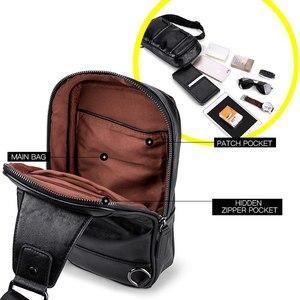Image 4 - LIELANG Chest bag leather men brand bag casual multi function 2019 new fashion men bag shoulder messenger men chest bag leather