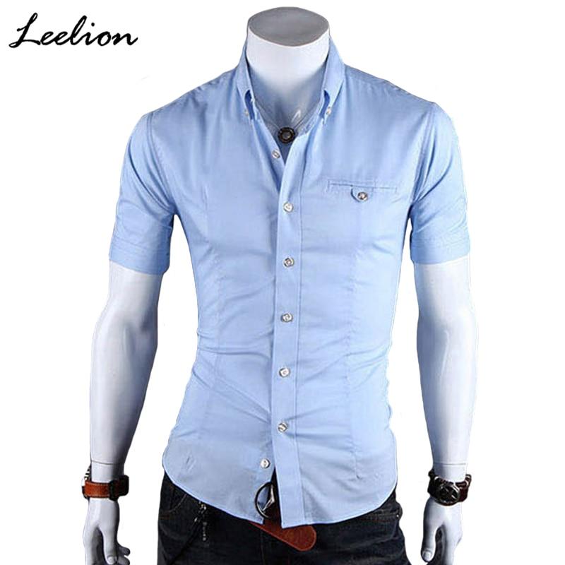 Men Short Sleeves Slim Fit Dress Shirts