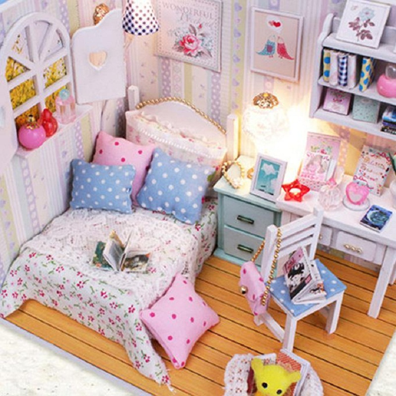 Kits DIY Wood Handmade Dollhouse Bed Miniature With LED+Furniture+cover Magic
