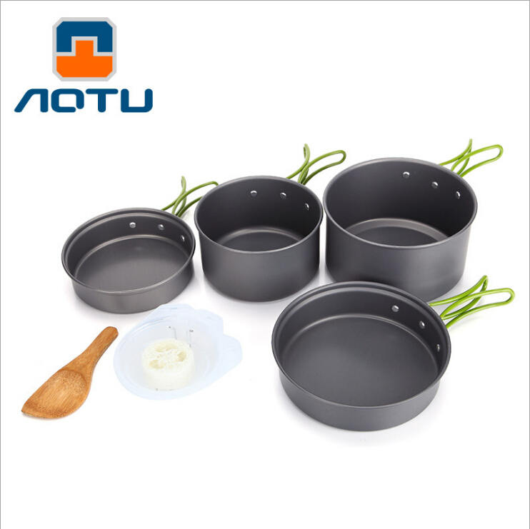 High quality Outdoor Tableware Camping Hiking Cookware Tableware Picnic Backpacking Cooking Bowl Pot Pan Cooker Set 2-3 people vel vel 03 06 04 04300