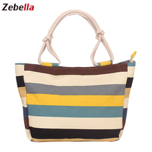 Zebella Women Handbag 2019 Flower Print Canvas Fashion Female Tote Ladies Shopping Bags Casual Shoulder Bag Beach Bolsa Feminina 2017 fashion cartoon handbag tote shoulder stripe casual women ladies canvas bag simple cute mini girl bags bolsa feminina
