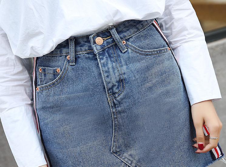 HTB1G5ZeQXXXXXakapXXq6xXFXXXB - Denim Skirts Striped Slim A Line High Waist Blue Jeans Skirt PTC 154