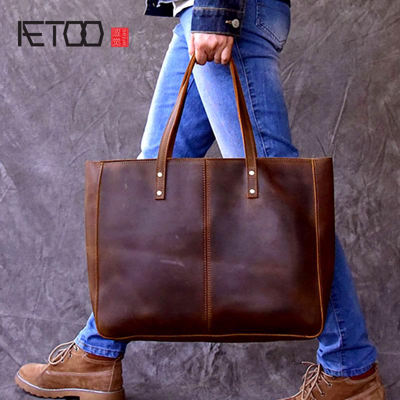 AETOO Europe and the United States retro hand Crackle large capacity handbag horizontal Tote bag handbags