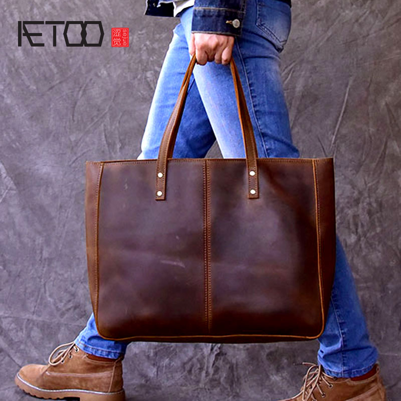 AETOO Europe and the United States retro hand-Crackle large-capacity handbag horizontal Tote bag handbags leather bag europe and the united states style first layer of leather lychee handbag fashion retro large capacity solid business travel bus