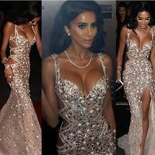 Роскошные вечерние платья в стиле русалки, кристаллы, бисер, Сплит, официальная Женская праздничная одежда, вечерние платья знаменитостей размера плюс, на заказ