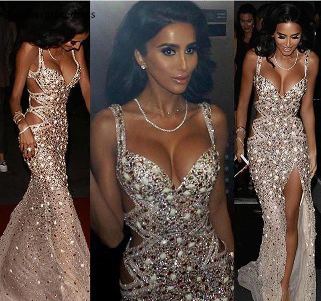 Luxury Mermaid Evening Dresses 2019 Crystals Beads Split Formal Women Holiday Wear Celebrity Party Gowns Plus Size Custom Made
