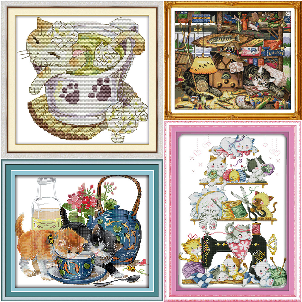 Pisici minunate cu numere de încrucișare Cross-Stitch Kit DMC Ștampilat cu cruce Stitch Pattern Set de cusături chinezești Cross-Stitch Set de broderie DIY Needlework Kit