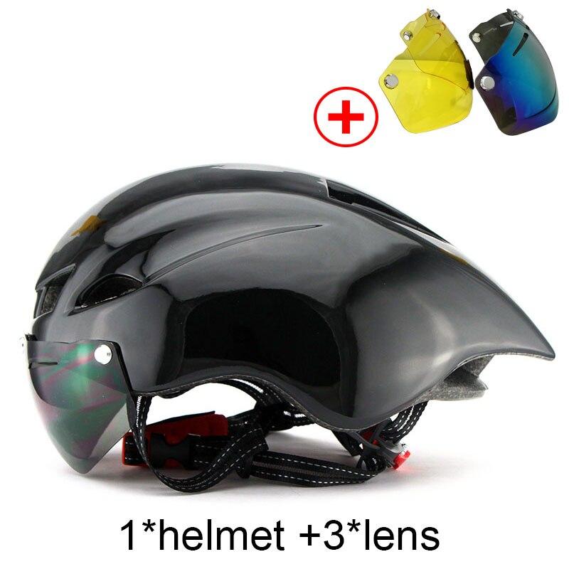 Neue Fahrrad Helm Mit Brille 6 Farben Ultraleicht MTB Rennrad Helm 56-62 cm Erwachsene Goggleses Casco Ciclismo schwarz Blau
