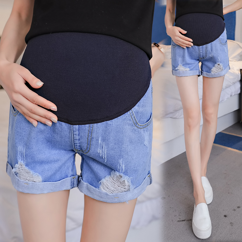 Hole Rolled Up Denim Maternity Shorts High Waist Adjustable Belly Short Jeans Clothes for Pregannt Women Pregnancy clothing newHole Rolled Up Denim Maternity Shorts High Waist Adjustable Belly Short Jeans Clothes for Pregannt Women Pregnancy clothing new