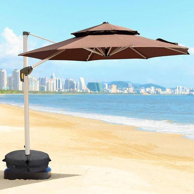 2 Style 18in Round Weight Sand Bag For Outdoor Patio Sunshade Parasol Umbrella Base Stand