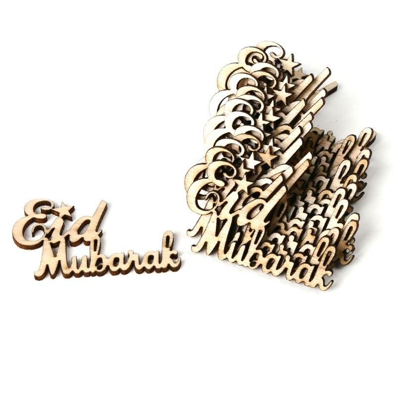 15pcs//bag Wooden Eid Table Confetti Scatter Vintage Eid Mubarak Party Decor RDR