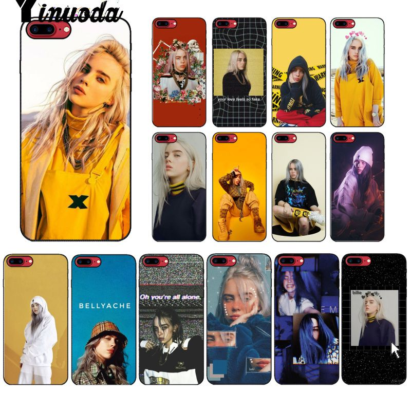 Yinuoda Billie Eilish Hot Music Singer Star Black Phone Case Cover for Apple iPhone 8 7 6 6S Plus X XS MAX 5 5S SE XR