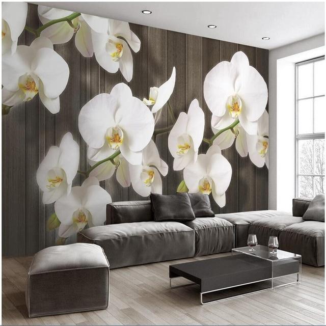 Beibehang Custom 3d Stereo Schmetterling Orchidee Blume Holzmaserung  Moderne Minimalistischen Wand Dekoration Malerei Wohnzimmer Tapete