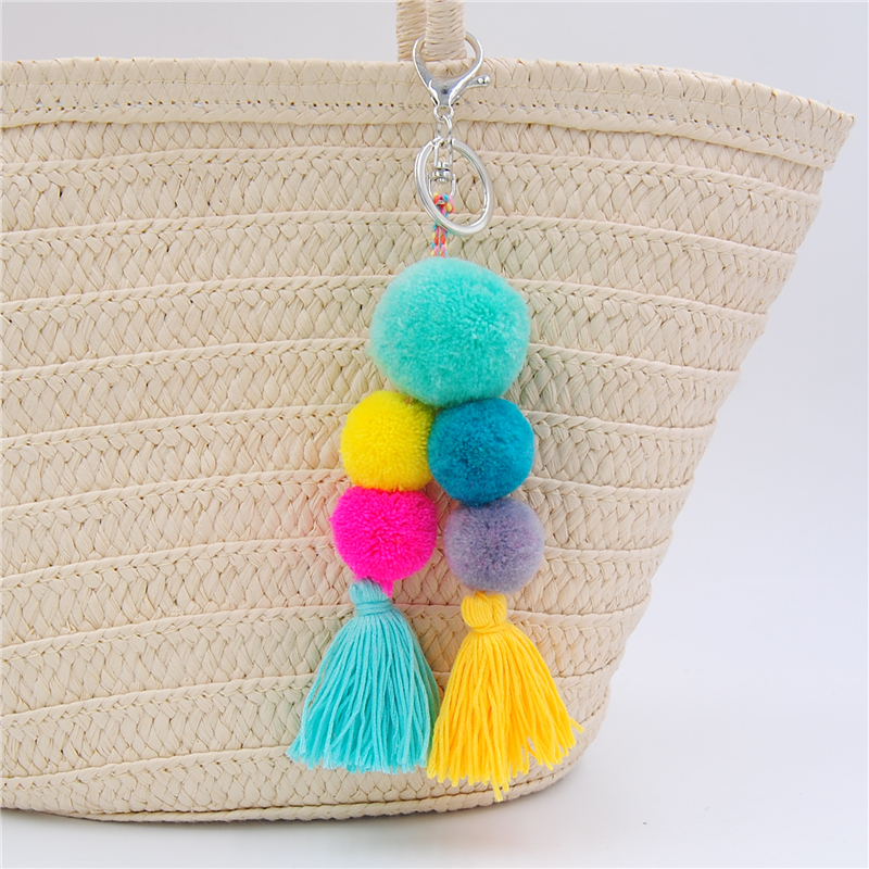 1pc Woolen Yarn Big Ball Pom Pom Bag Charms Bohemia Tassel Keychains For Women Boho Jewelry Party pom pom decorated glitter clip 1pc