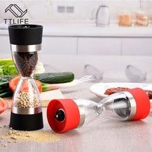 Forma de reloj de arena de Doble Especias Sal Pimienta Mill Grinder para Herramientas de Cocina de cocina