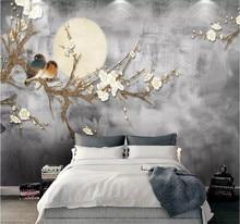 лучшая цена Custom wallpaper Chinese style fashion simple flower and bird series background wall decoration - high-grade waterproof material
