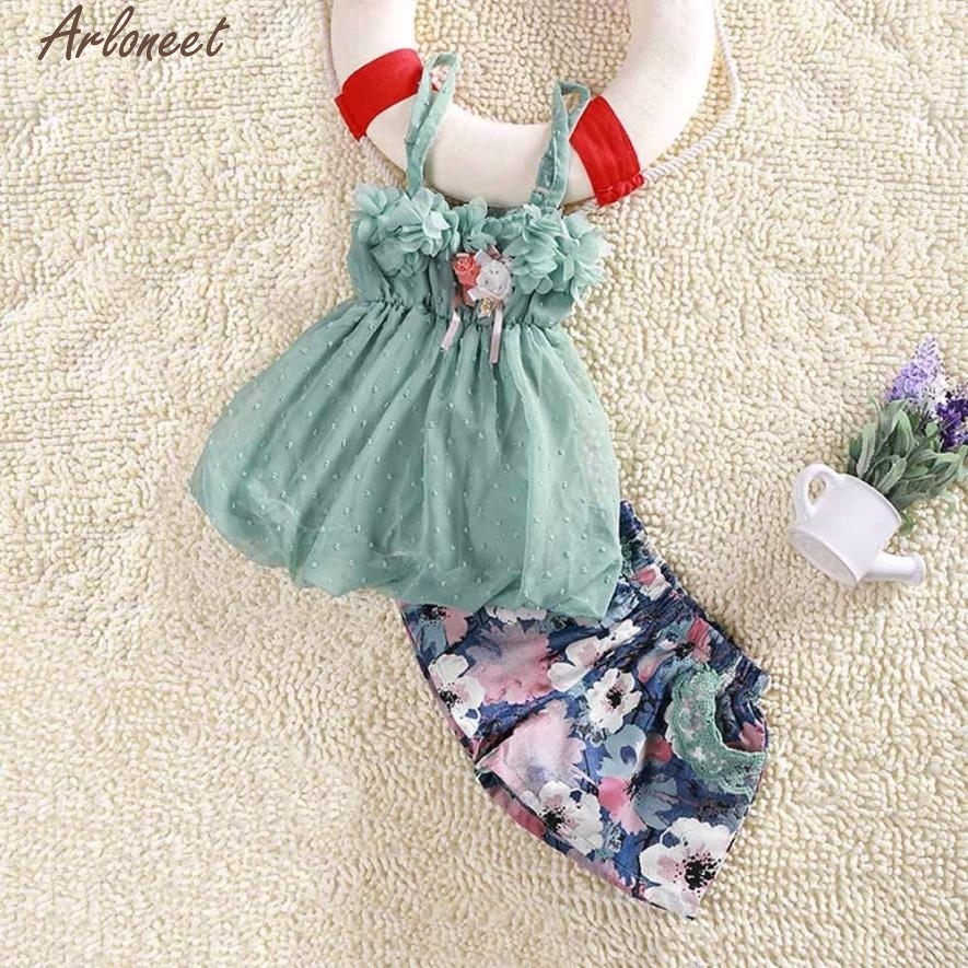 ARLONEET Christmas Pajamas Dress For Baby Girls Kids Girls Lace Suspenders Sling Vest Floral Short Set Clothes &