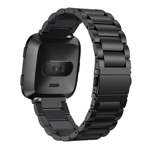 Image 4 - OULUCCI Classic Three Beads link Stainless steel Metal watch band Bracelet Strap Wristband Replacement Fitbit versa watch band