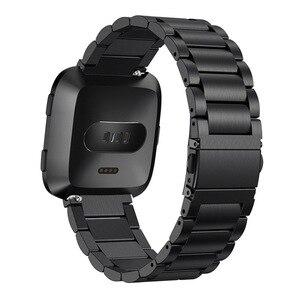 Image 4 - Oulucci clássico três contas link aço inoxidável metal pulseira pulseira pulseira pulseira pulseira substituição fitbit versa assista band