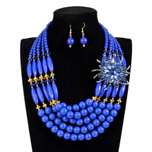 4 color Nigerian wedding african bead jewelry set