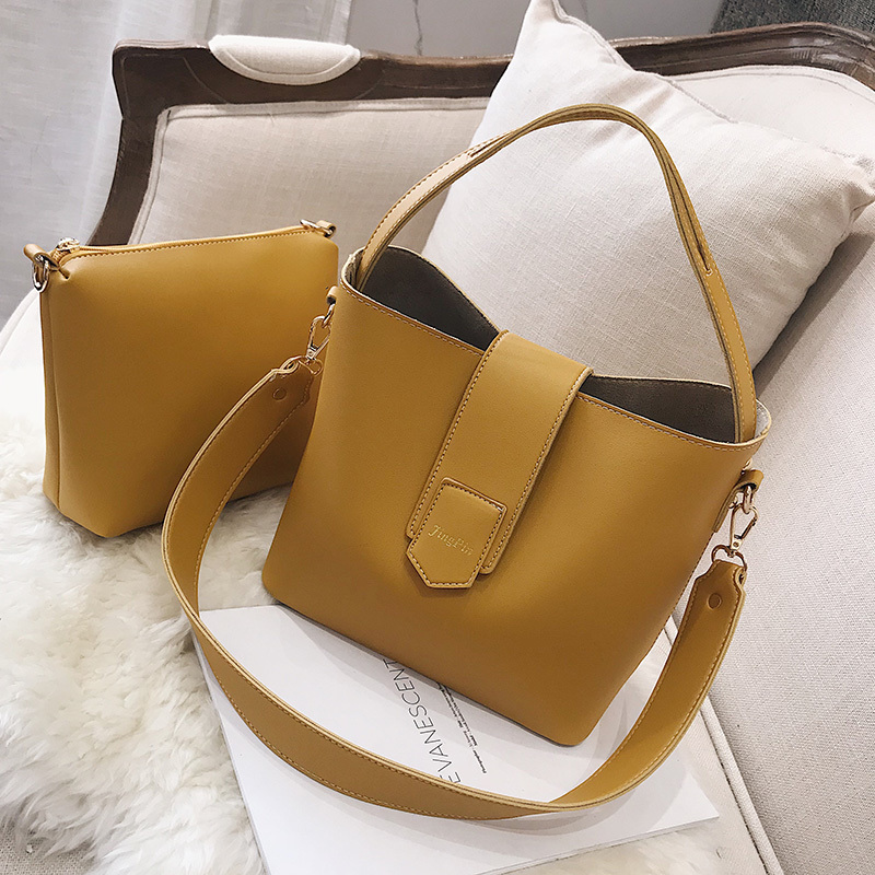 2 Pcs/Set Women Leather Bag Handbag Women S Bucket Shoulder Bag For Tote Crossbody Bag Big Sac