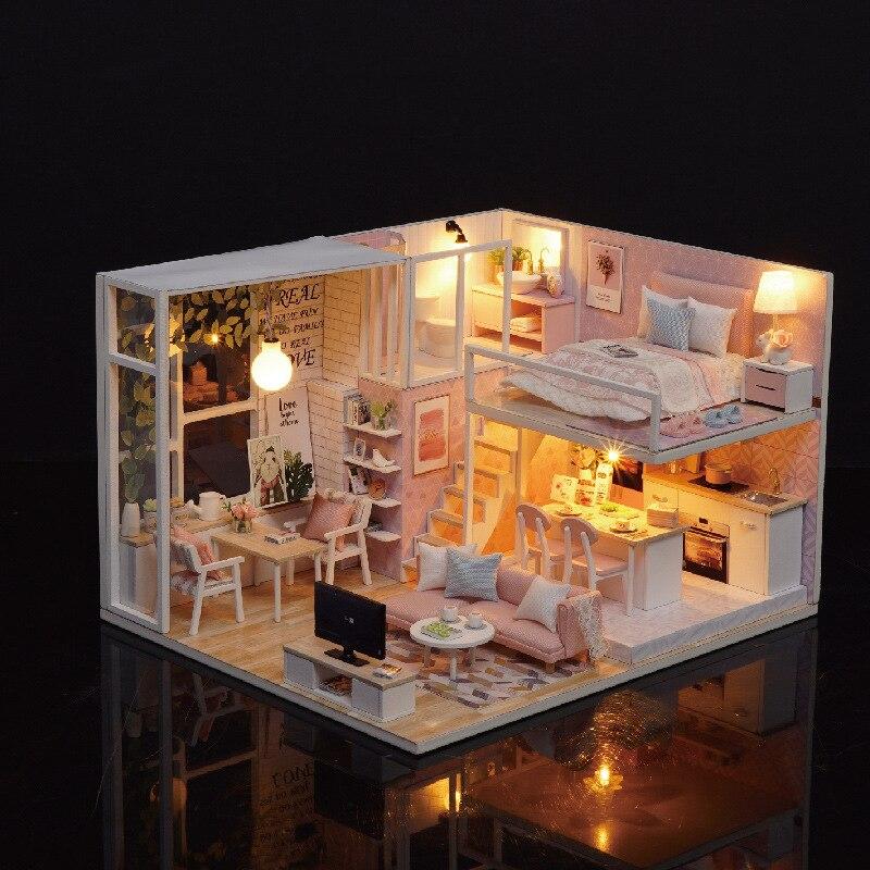 Diy Wooden Miniaturas Dollhouse Handmade 3D Furniture Miniature Doll House Toys for Children Birthday Gifts wooden handmade dollhouse miniature diy kit caravan