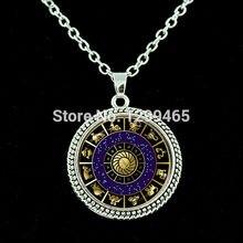 Dark blue white Om,Yoga,Buddhist,mandala necklaces New gifts Sacred eometry pendant  Sri Chakra chain necklace  N 088