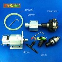 FitSain 775 DC24V 8000RPM Motor Pulley Four Jaw Chuck D 50mm B12 Drill Chuck Mini Lathe