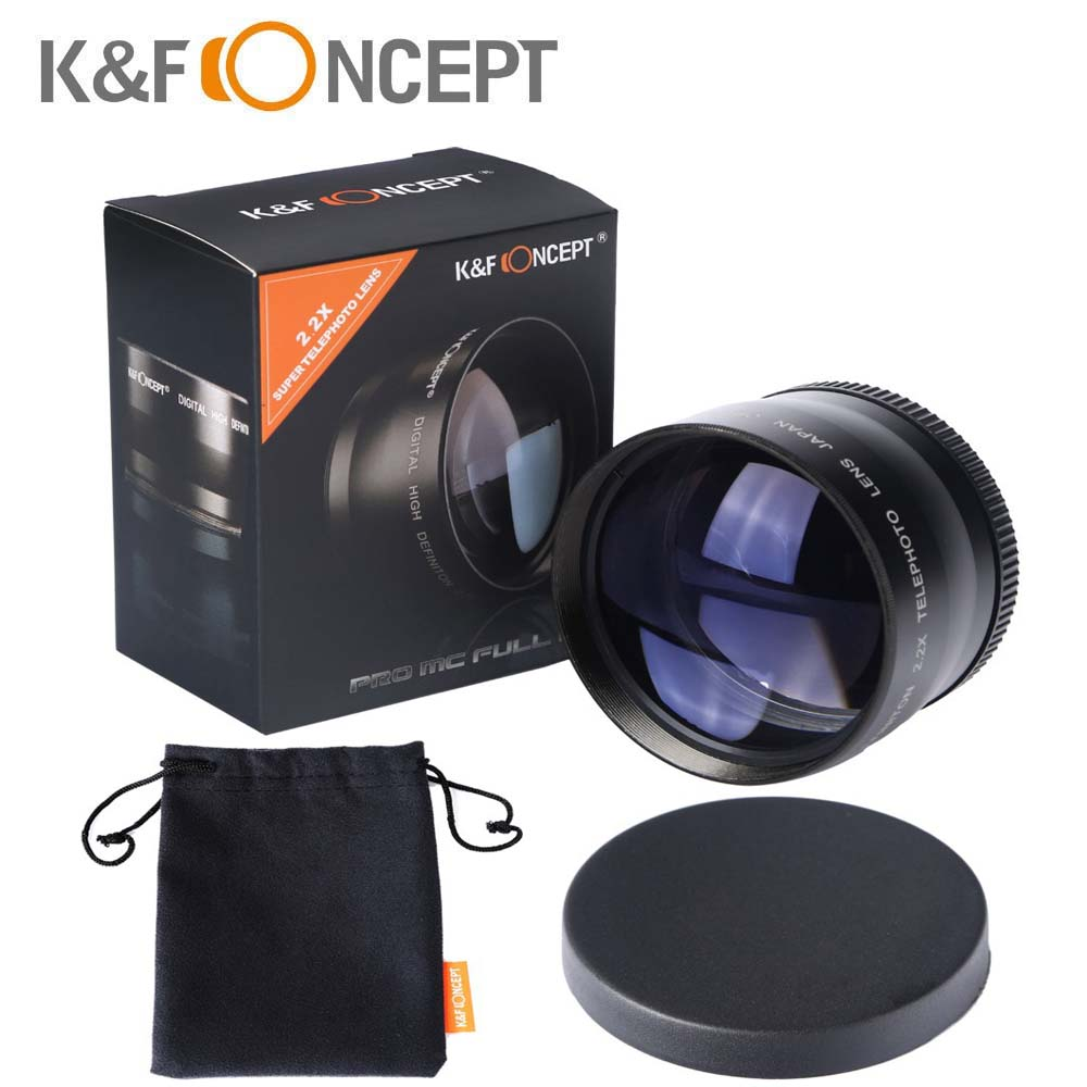 K&Fconcept 58mm 2.2X Telephoto Lens for Canon Nikon Olympus Sony Pentax Samsung DSLR Camera Lenses with 58MM Filter Thread