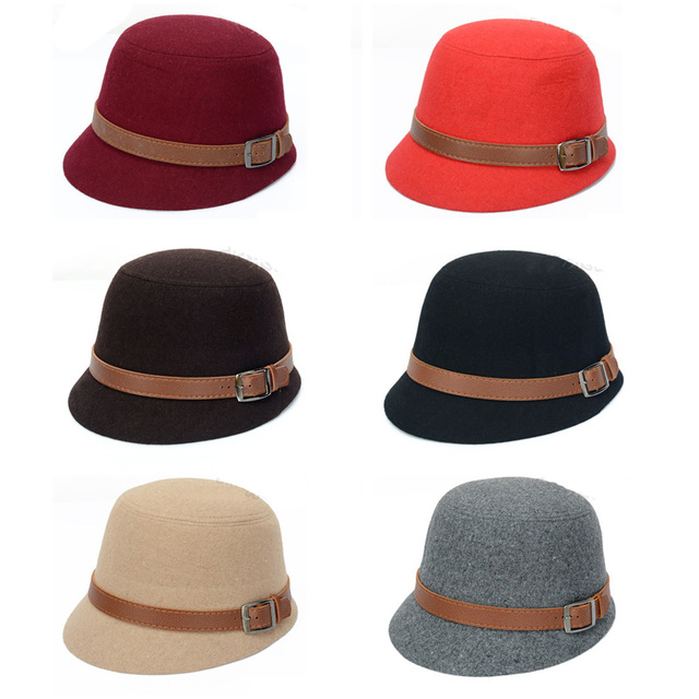 Women Ladies Vintage Retro Wool Bowler Derby Cloche Hats Bucket Dome Round  Caps HATBD0025 6526848bf661