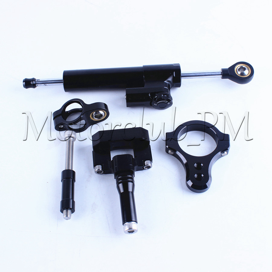 High Quality Motorcycle Steering Damper Stabilizer with Mounting Bracket Kit For Yamaha YZF R3 2014-2016 Black Aluminum